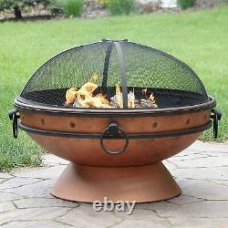 Grand Four À Feu De Cuivre Grill Barbecue, Jardin Extérieur Rond Brazier Wood Log Burner