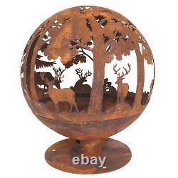 Grand Laser Cut'woodland' Fire Globe Pit Bowl Outdoor Garden Patio Jasper Js