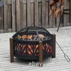 Grand Puits De Feu De Jardin Patio Extérieur Camping Bbq Grill Log Burner Heater Steel