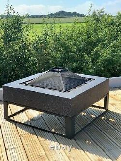 Gsd Fire Pit Large Faux Concrete Round Mgo Bbq Grill Bowl Pour Jardin/patio