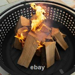 Harrier Woven Outdoor Fire Pit Large Fire Bowl + Spark Screen/log Grate/poker