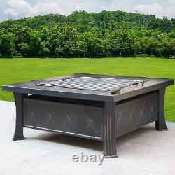 Heatsure Extérieur Multifunctional Fire Pit Garden Bbq Brazier Square Patio Heater