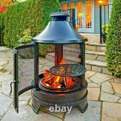 Hello Outdoors Steel Garden Cooking Fire Pit Grill Bbq Barbecue + Swing Out Fer