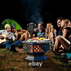 Hex Fire Pit Bbq Bowl Pour Garden Patio Heater Grill Vintage Design Charcoal