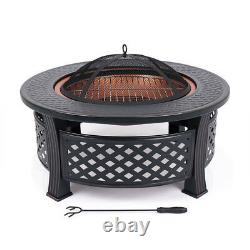Iron Fire Pit Patio Garden Heater Table Barbecue Extérieur Barbecue Camping Stove Grand