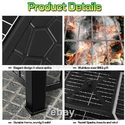 Jardin Extérieur Bbq Fire Pit Large Brazier Square Stove Patio Heater Grill 81cm