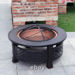 Jardin Round Fire Pit Bbq Grill Firepit Brazier Log Chauffe-greffe Patio Stove XL