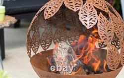 La Hacienda Laisse De L'acier Oxydé Fire Pit Globe Garden Chauffage