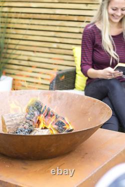 La Hacienda Moho Garden Fire Pit Outdoor Patio Heater Natural Rusted Oxydé