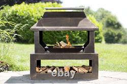 La Hacienda Stonehurst Bronze Steel Garden Fire Pit Basket Extérieur Patio Heater