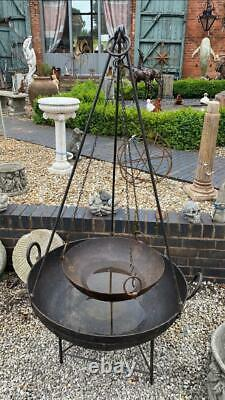 Original En Fer Indien Kadai Fire Pit Bowl Inclut Stand & Cooking Bowl