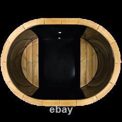 Oval Hot Tub Pour 2 Personnes Mini Spa Spa Au Bois Japonais Avec Chauffage Extérieur