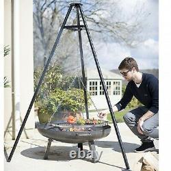 Piscine Extérieure Bbq Fire Bowl Garden Tripod Suspendu Barbecue Net Grill Uk