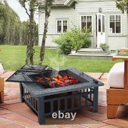 Poêle De Jardin Bbq Firepit Brazier Square Table Chauffage Extérieur De Foyer Avec Poker