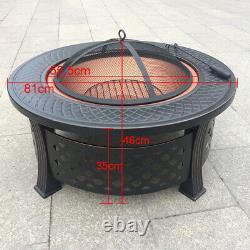 Round Fire Pit XL Grand Jardin Extérieur Firepit Table Heater Bbq Brazier & Grill
