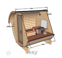 Sauna En Berceau De Jardin Extérieur De 220cm Avec Harvia Électrique / Chauffage Au Bois