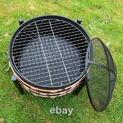 Schallen Jardin Extérieur En Cuivre Noir Grand Bol Fire Pit Avec Cuisson Barbecue Grill