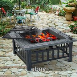 Square Fire Pits Garden Patio Heater Stove Outdoor Metal Brazier Avec Barbecue