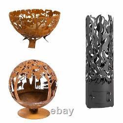 Steel Lasercut Woodland Scene Fire Pit Globe Bowl Fire Drum Pour Une Utilisation Extérieure