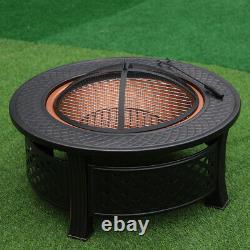 Table Ronde De Patio Extérieur Bbq Brazier Bois Brûlage Fire Pit Garden Heater &grill