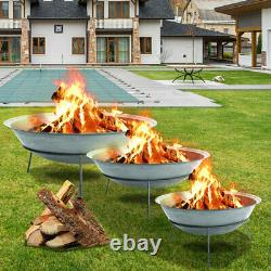 XL 120cm Round Bowl Fire Pit Garden Bonfire Steel Rust Fire Bowl Avec Support En Fer