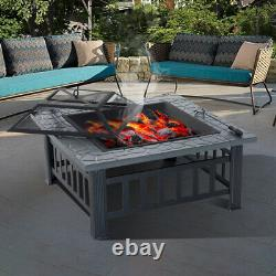 XL 81cm Square Fire Pit Bbq Outdoor Garden Deck Table Stove Patio Heater & Grill